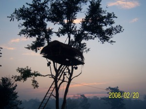 Hemtap—Karbi tree-house in the backdrop of a setting sun at Taralangso..Diphu